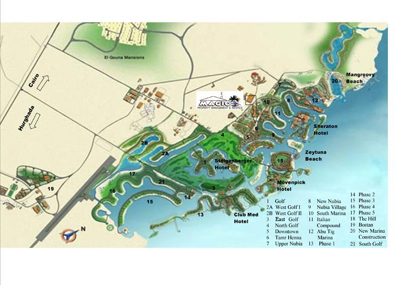 Magic Property Management Rentals Apartments And Villas For - Map of egypt el gouna